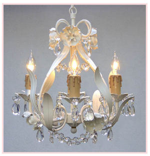 Antique white baby nursery chandelier with vintage ivory rosettes and candles