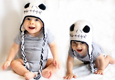 Nightmare Before Christmas Jack Skellington Crochet Baby Beanie Hat Crocheted with chunky white baby yarn