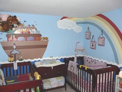 Twin Noah's Ark Baby Nursery Wall Mural Designed by Dad