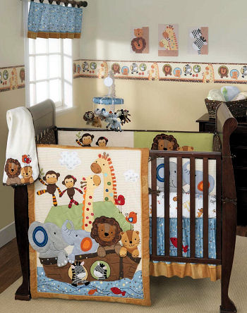 Noahs Ark Crib Set with Animals Two by Two for a baby boy or baby girl nursery