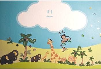 Nojo Jungle Babies Wall Decals used with a painted cloud mural in a jungle theme nursery room