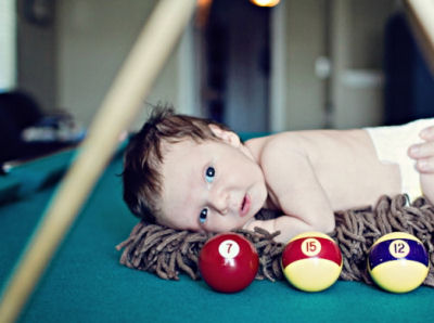 Baby boy billiard (pool) theme newborn photo shoot props ideas