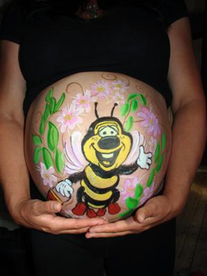 Honey bee bumblebee pregnant belly painting
