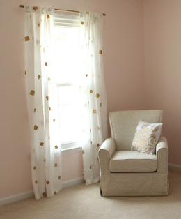 White and gold metallic confetti pattern baby girl nursery curtains panels window treatments