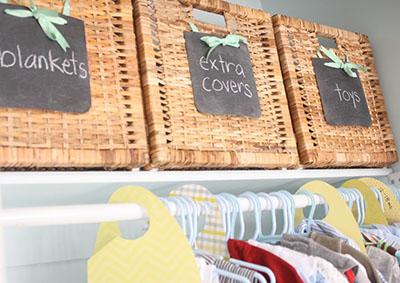 DIY chalkboard baby nursery bins closet organizers. Organization baskets.