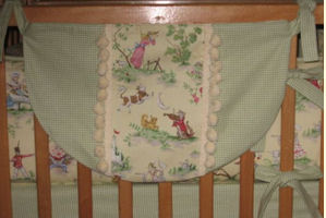 Nursery Rhyme Theme Toile and Green Gingham Baby Nursery Crib Bedding Set