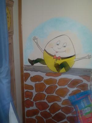 Humpty Dumpty Sat on a Wall in our Baby Boy's Nursery Rhymes Theme Room