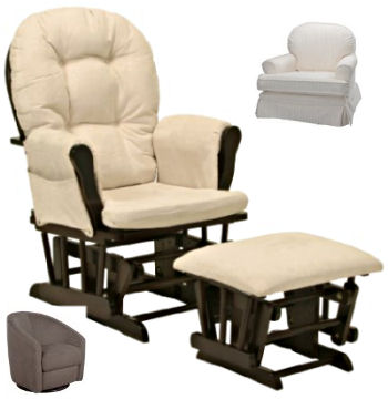 Glider rocker chairs with ottoman for the baby nursery