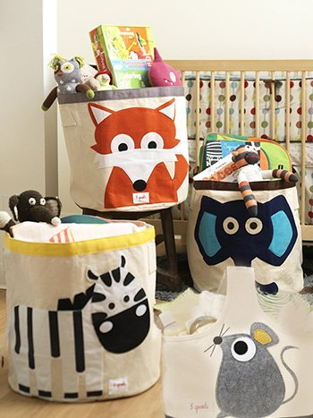 A cute diaper bag or tote can be part of your nursery storage system in addition to various bins and baskets