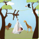 Jungle animals theme baby nursery wall stencil pattern template