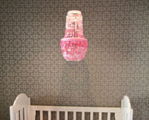 Hot pink capiz shell nursery chandelier lighting a gray and white baby girl room