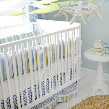 Ocean nursery bedding with diy homemade starfish baby mobile and decor