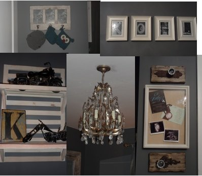 A beautiful baby boy nursery room decorated in a vintage cars theme and sea green and white color scheme