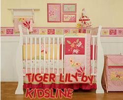 orange and pink baby bedding tiger lily by kidsline baby girl nursery tropical beach hawaiian
