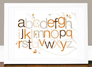 Olli and Lime Alphabet Picture print for an alphabet theme baby nursery in orange brown and white