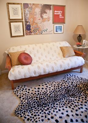 Boaz's Eclectic Nursery w Black and White Cheetah Rug