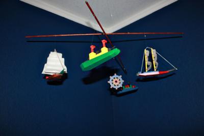 My one-of-a-kind nautical crib mobile that I made myself.