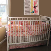 Colorful baby girl pink and brown bird themed nursery with custom baby bedding