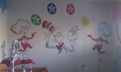 DIY Painted Dr Seuss Baby Dresser and Cat in the Hat Nursery Lamp