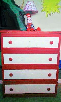 DIY painted Dr Seuss baby dresser and a Cat in the Hat Nursery Lamp