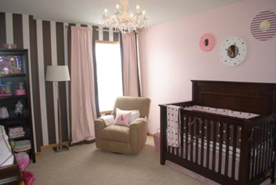A Pink and Brown Nursery for our Baby Girl - Pink and Brown Polka Dot Baby Crib Bedding and Painted Wall Stripes