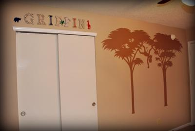 Hand Painted Name Blocks in our Safari Themed Baby Nursery