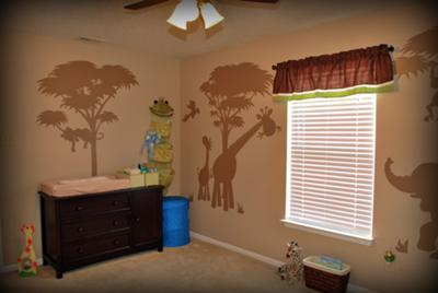 The Changing Area in our Safari Nursery theme