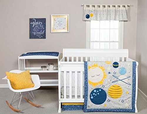 blue grey yellow galaxy solar system rocket ship outer space baby bedding set crib nursery pictures