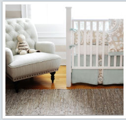 Beautiful taupe and baby blue nursery bedding set custom made by grandmother.