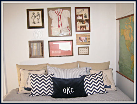 Chevron stripe pillows and a vintage baseball jersey create a nice balance between the past and the present