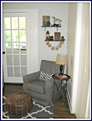 Comfortable Ikea chair converted into a nursery rocker glider with