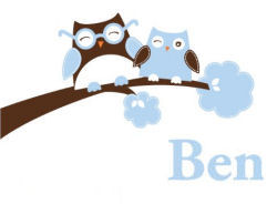 Brown and blue Happy Owls Personalized nursery wall decal for a baby boy