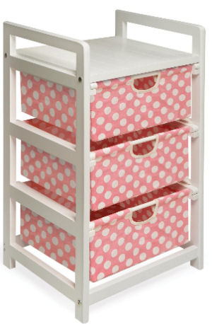 Nursery storage bins and baskets in pink and white polka dots