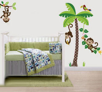 Colorful monkey and palm tree nursery wall decals