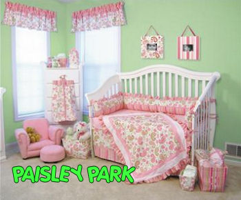 pink and green paisley baby bedding collection