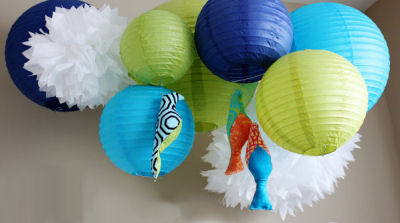 aper Lanterns, Pom Poms and Colorful Fabric Birds Baby Nursery Mobile