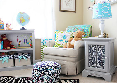 Baby boy bee theme nursery decorated with black and white damask print and zebra print with custom crib bedding set