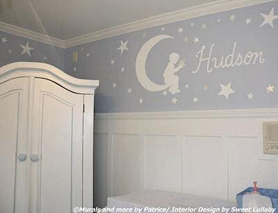 Custom Goodnight Moon nursery wall mural in a baby boy nursery room