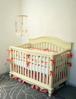 Peach and Ivory Baby Girl Nursery with Cherry Crib Bedding