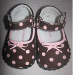 girls brown and pink polka dots leather pedipeds baby shoes