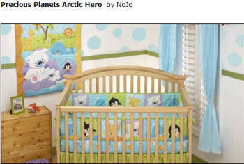 nojo pastel penguin and polar bear arctic baby crib nursery bedding set save the planet