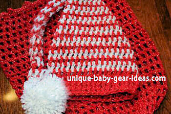 Peppermint Swirl Crochet Christmas baby cocoon and elf or long Santa Claus hat with pom pom