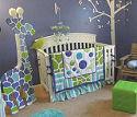 Baby boy giraffe theme nursery room ideas and custom giraffe print and stripes crib bedding set