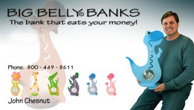Big Belly Banks has personalized baby banks and banks for kids that makes saving money FUN!