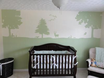 Beatrix Potter Peter Rabbit painted baby nursery wall mural with forest animals ducks deer geese