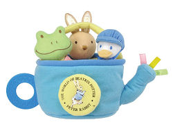 Peter Rabbit Jeremy Fisher frog Jemima Puddleduck baby shower gift basket filled with teethers and rattles