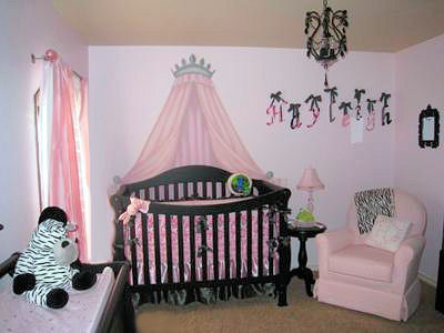 Elegant Pink and Black Princess Baby Girl Nursery w Zebra Print Decor, Crib Crown and Black Chandelier