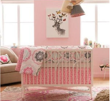 Pink and brown deer and butterfly baby girl woodland nursery theme
