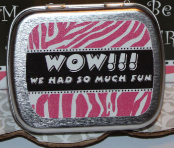 Personalized pink and brown mint tins with a zebra stripe pattern that we included in our baby girl baby shower's goodie bags