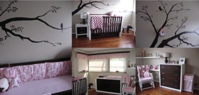 Baby Girl's Pink and Brown Birdhouse Nursery - Feminine Bird Theme Nursery Pictures